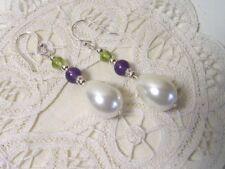 Suffragette Earrings White 16mm Pearl Amethyst Peridot Gemstones Sterling Silver
