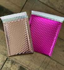 25 6 x 8 inches Poly Bubble Mailer Padded Envelopes in Holographic Pink or Pink