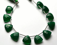 """Natural GREEN Chalcedony Faceted Trillion SHAPE Briolettes Beads 11 - 12 MM  6"""""""