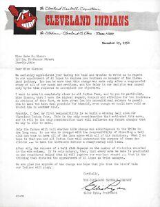 1950 Cleveland Indians original historical item hand signed Ellis Ryan