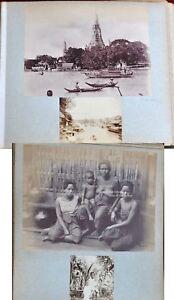 4 ANTIQUE ORIGINAL PHOTO THAI THAILAND RAMA V BANGKOK CITY ALBUMEN SIAM WAT 1900