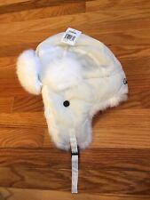 CABELAS UNISEX RABBIT FUR HAT WHITE NEW TAGS TRAPPER OVER EARS HAT