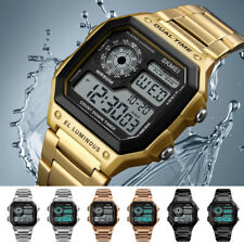 UK Mens Digital Quartz Wrist Watch Sport Army Waterproof Gold Stainless Steel