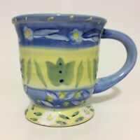 Coffee Mug Cup Oversized Hand Painted Floral Yellow Blue Les Fleurs 20 Oz