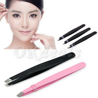 2016 Fashion Stainless Steel Slant Tip Eyebrow Tweezer Hair Removal Makeup Tools