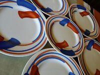 6 RARE Vintage 1975 FITZ & FLOYD BLUE RED ORANGE TASSELS PLATES ROPE FIT4