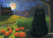 Black cat crow pumpkins moon Halloween limited edition aceo print of painting