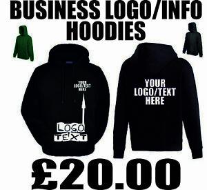 Personalised Logo Hoodies Mens Custom Text Business Work Staff Company Hoodie