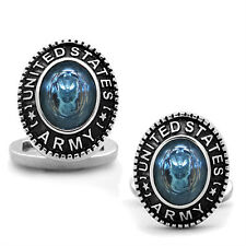 US Army Sea Blue Stone Military Silver Stainless Steel Cufflink a Pair