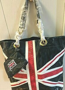 Twiggy London UK Flag Symbol  Patent Leather XLarge Tote Bag w/Cosmetic Bag NWOT