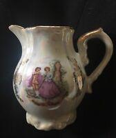 Vintage 1970 Lustreware Victorian Courting Couple Milk Jug porcelain Tea Creamer