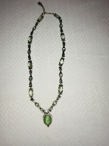 SUPERB! Signed MIRACLE  Necklace with Green Stones & Ornate Metal Work