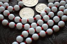 White Jade Hand Knotted Blessed Mala Beads Necklace - Energized Karma Nirvana Me