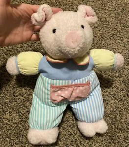 "VTG Eden Pig Piglet Bear Plush Terry Cloth Pastel Multi Color Soft Crib Toy 13"""