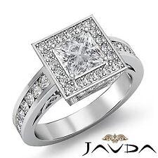 Halo Pave Set Princess Diamond Engagement Ring GIA F VS1 18k White Gold 2.5ct