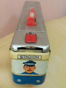 VINTAGE TOY TRAIN TROLLEY WIND UP STADION TIN MSB VEB GERMANY 70's AND KEY WORKS