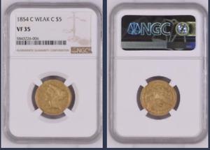 1854-C Weak C Liberty $5 Gold HALF EAGLE >NGC VF35< RARE >SUPER FAST SHIPPING!!!