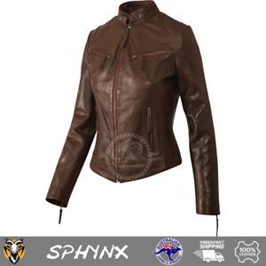 Pashmeer Sphnyx Women's Ladies Girls Super Soft Waxy Brown Biker Style Jacket