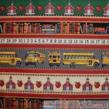BonEful Fabric Cotton Quilt School Bus Stripe Teacher Book Red Yellow B&W SCRAP