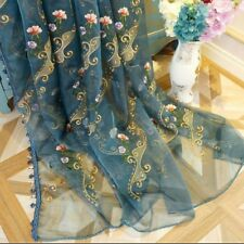 Luxury Floral Embroidery Net Curtain Fabric Lace Tulle Sheer Panel Drape Divider