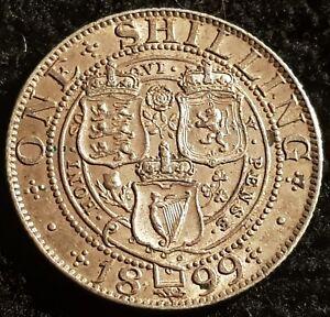 1899 Victoria Veiled Head .925 Silver British Shilling Coin UNC Condition