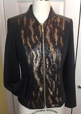 NWT CHICO'S Mixed Sparkled Jacket Front Zip Black W/Animal SOLD OUT Chico's Sz 0
