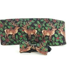 Vintage Holiday Reindeer Cummerbund & Bow Tie Set Adjustable Wedding Ugly Party