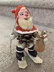 "Rare 6"" Vintage Pinecone Santa Figure On Skis Decoration Japan Putz"