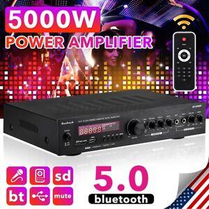 5000W Car Home Power Amplifier bluetooth 5.0  AUX Stereo Audio 2 Channel FM Amp
