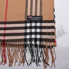 100% CASHMERE Scarf Camel Big Plaid Stripe Design Soft For Unisex