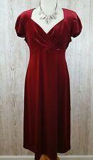 Marks & Spencer Red Velvet Knee Length Cap Shoulder Smart V Neck Dress UK14