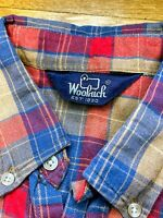 VTG Men's 80s WOOLRICH Red/Blue/Tan Plaid L/S Button-Down Flannel Shirt M EUC