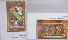 TOGO 1989 2122-23 A 1522A-B Olympics Olympia 1988 Seoul Tennis Steffi Graf GOLD