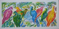 """Tableau par Nadine Cuzin, """"Oiseaux de Paradis"""", acrylique. Dimensions : 40x80cm"""
