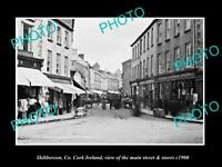 OLD LARGE HISTORIC PHOTO OF SKIBBEREEN CORK IRELAND, MAIN ST & STORES c1900