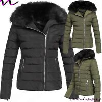 NEW WOMENS LADIES QUILTED WINTER COAT PUFFER FUR COLLAR JACKET PARKA SIZES 8-16H