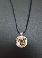 """Bulldog Pendant On a 18"""" Black Cord Necklace Ideal Birthday Gift N74"""