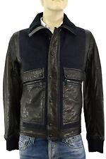 $3.400 DOLCE & GABBANA Black Blue Wool Leather BOMBER Mens D&G Jacket 48 US 38 M