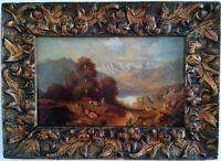 Huile sur panneau, scène pastorale sur fond de vallée et montagnes