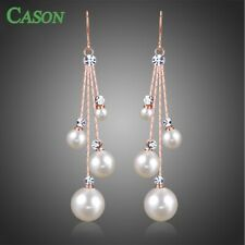 Women Crystal Pearl Long Chain Dangle Hook Earrings Fashion Jewelry Accessories