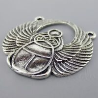Egyptian Scarab 42mm Antique Silver Plated Connector Charms C6302 - 1, 2 Or 5PCs