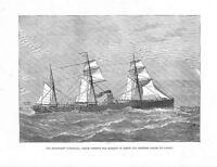 """1878 - Antique Print STEAM SHIP """"SARMATIAN"""" Marquis Lorne to Canada (164b)"""