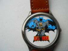 Fossil BATMAN Men's Brown Leather,Quartz,Battery & Analog Dress Used Watch.