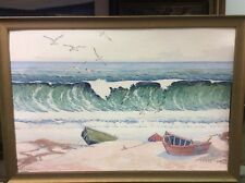 ANTIQUE PAINTING 1942 H ARDEN EDWARDS BREAKERS OCEAN SEASCAPE FISHING BOAT BEACH