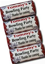 12 x Personalised Wrappers Chocolate Bars Birthday Favours Ten Pin Bowling