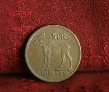 1964 Norway 5 Ore Bronze World Coin KM405 Animal Moose Olav V Norge Scandinavian