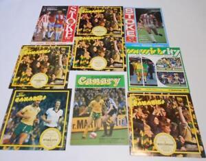 NORWICH CITY Home & Away Football Programmes 1976-1983 Job Lot x9 Stoke Bristol