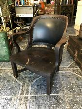 Vintage Stout and Wide 40s Wood and Leather Studded Bowed Back Reading Chair