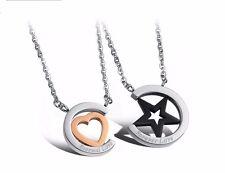 Men's 18K GoldGP Made with SWAROVSKI Element Couple DoubleRings Pendant Necklace