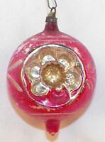 Antique Christmas Ornament Indent Mercury Glass Pink Silver Flower Blown #6